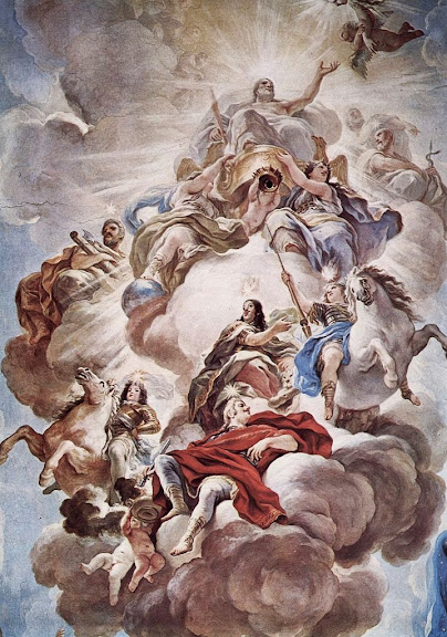 Luca Giordano - Triumph of the Medici in the clouds of Mount Olympus, fresco in the Palazzo Medici-Riccardi, 1684-1686