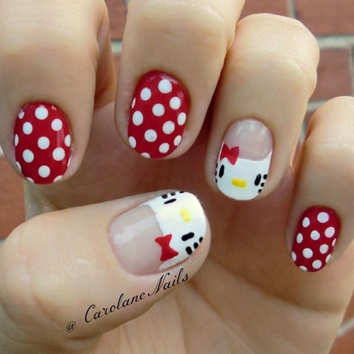 Lovely 10 French Tip Hello Kitty Nail Design Pic Fashionte