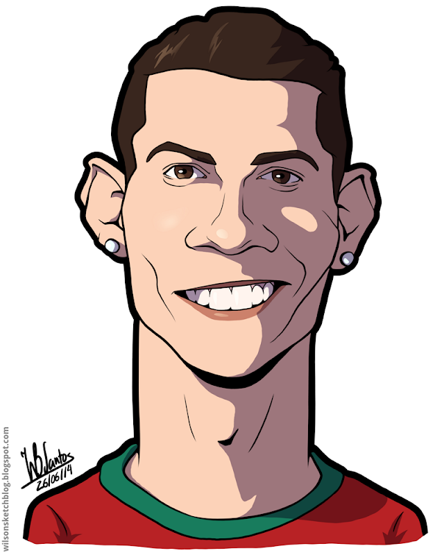 Cartoon caricature of Cristiano Ronaldo.
