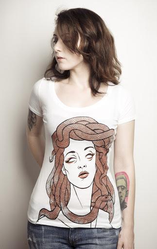 medusa tshirt, monster chic, heroin chic style, monster tshirt, beautiful monster, white tshirt cool, original tshirt art, snake tshirt, tattoo women shirt, tattoo women art, tattoo women style