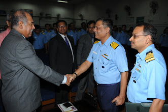 Photo: Vice Admiral P. C. Lal, CTO Western Naval Command, welcoming Mr. Abraham Koshy, Head Mumbai Chapter while  Capt R. Santosh, CITO - WNC stands by.