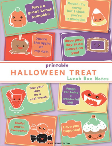 photo relating to Printable Lunch Notes identified as Free of charge Printable Halloween Themed Lunchbox Notes for Young children