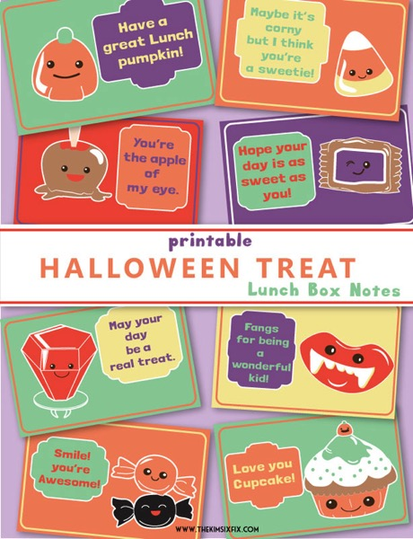 Halloween treats printable lunchbox notes