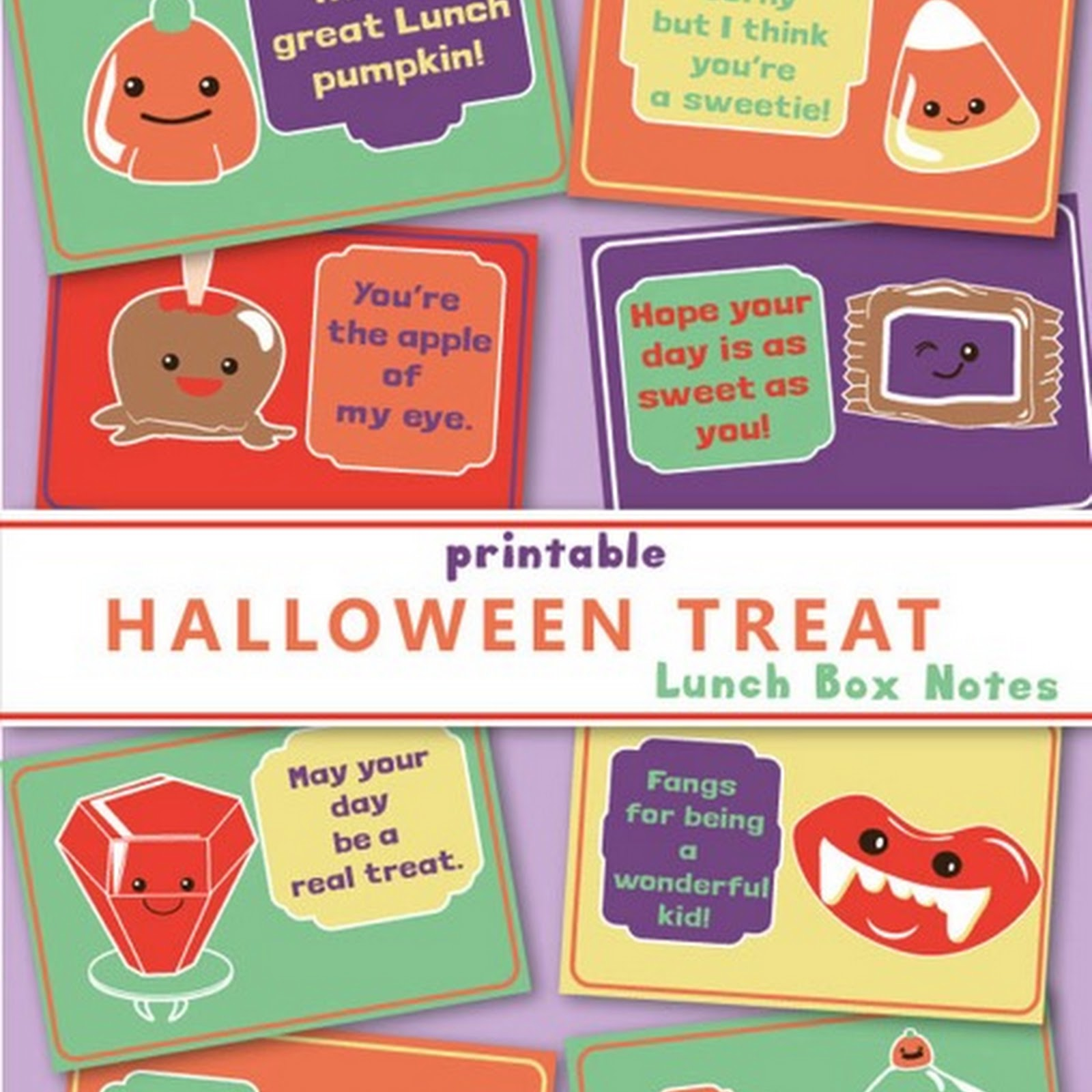 Free Printable Halloween Themed Lunchbox Notes for Kids
