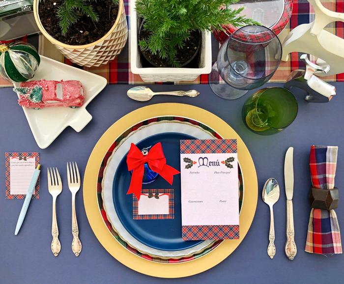 mesa, cena nochebuena, fiesta, Navidad, decoración, almuerzo, brunch, escocés, estampado