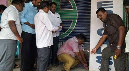Six shops were sealed by the Vellore Corporation for non-payment of rent