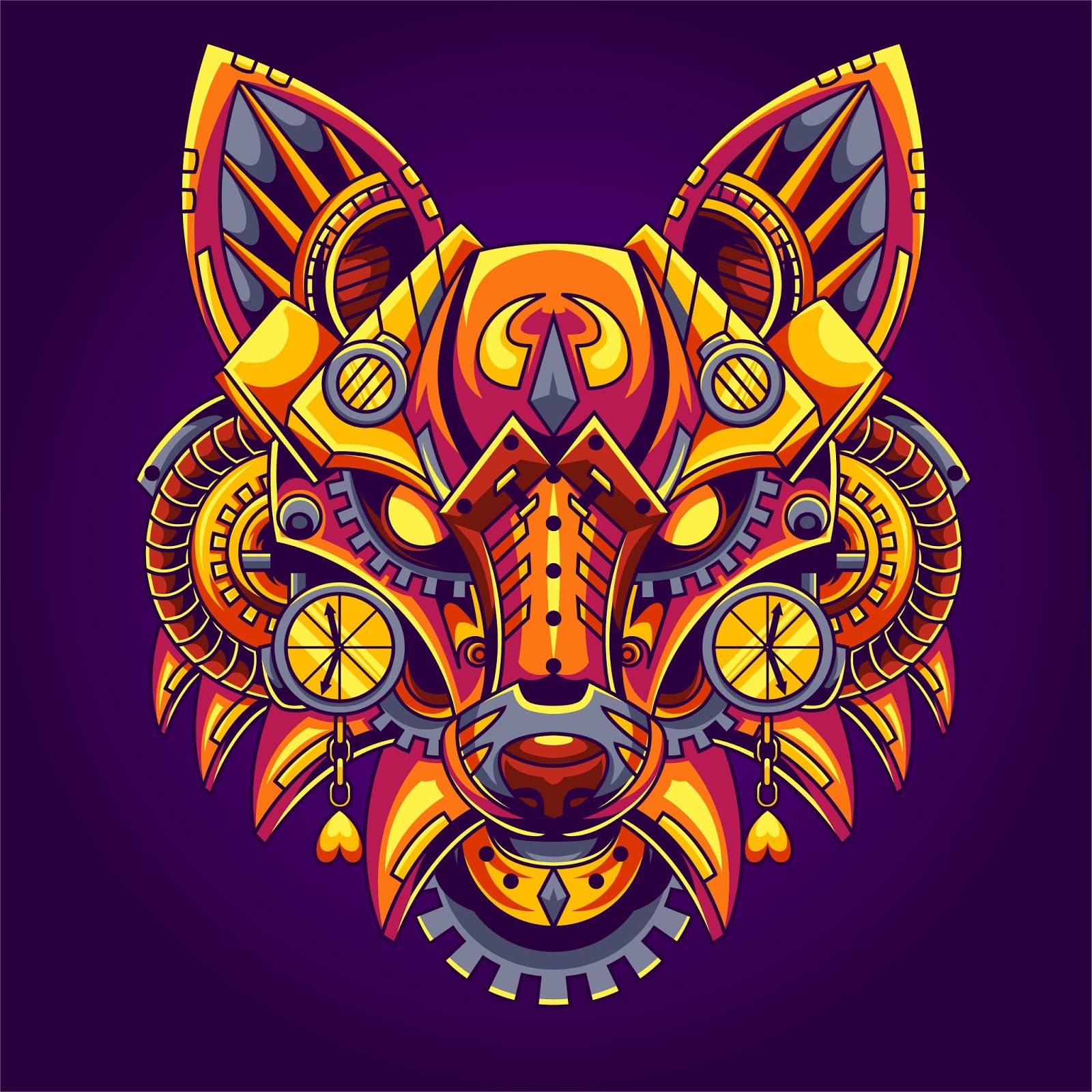 Fox Steampunk Illustration	 Free Download Vector CDR, AI, EPS and PNG Formats