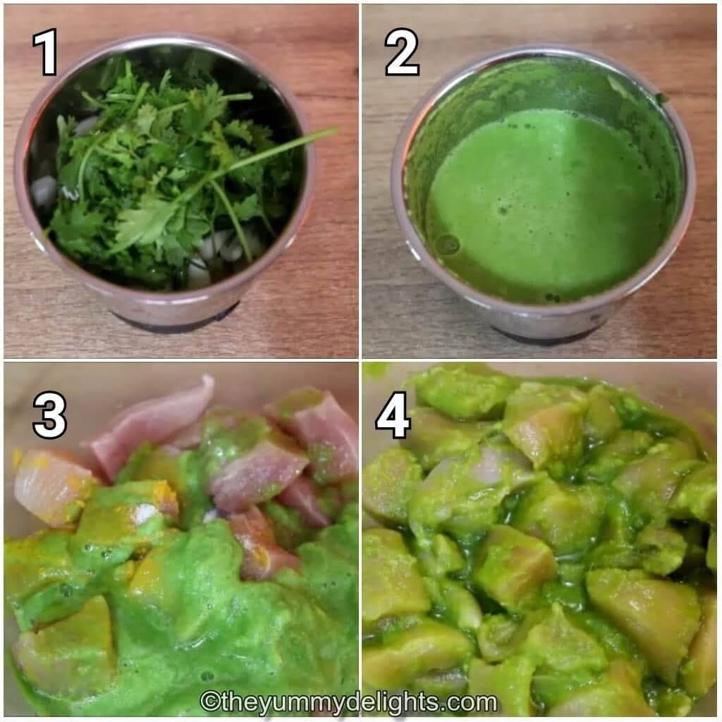 step by step image collage of making green masala and marinating the chicken with it.