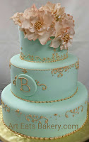 Mint Green Fondant Three Tier Custom Wedding Cake With Edible Handmade Gold Flowers Piping And Monogram