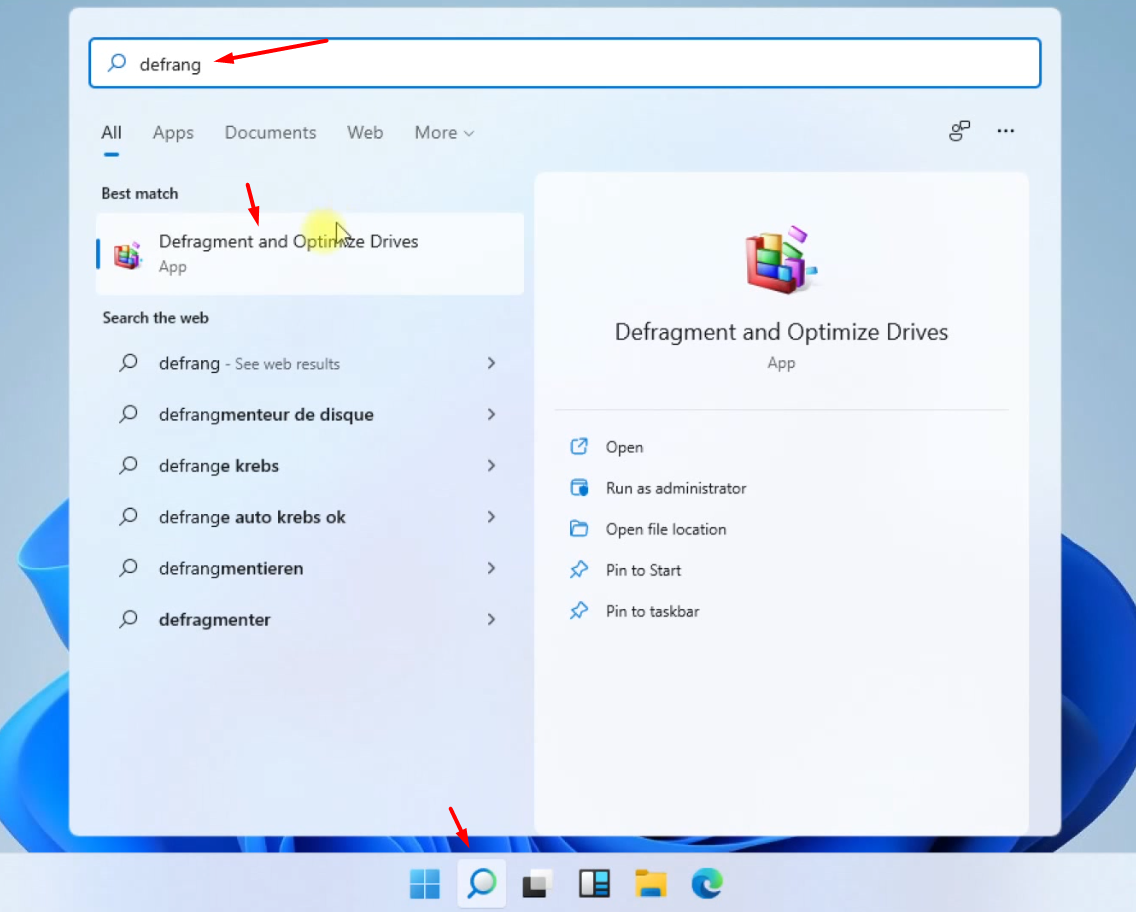 Search for Defragmentation in Windows 11