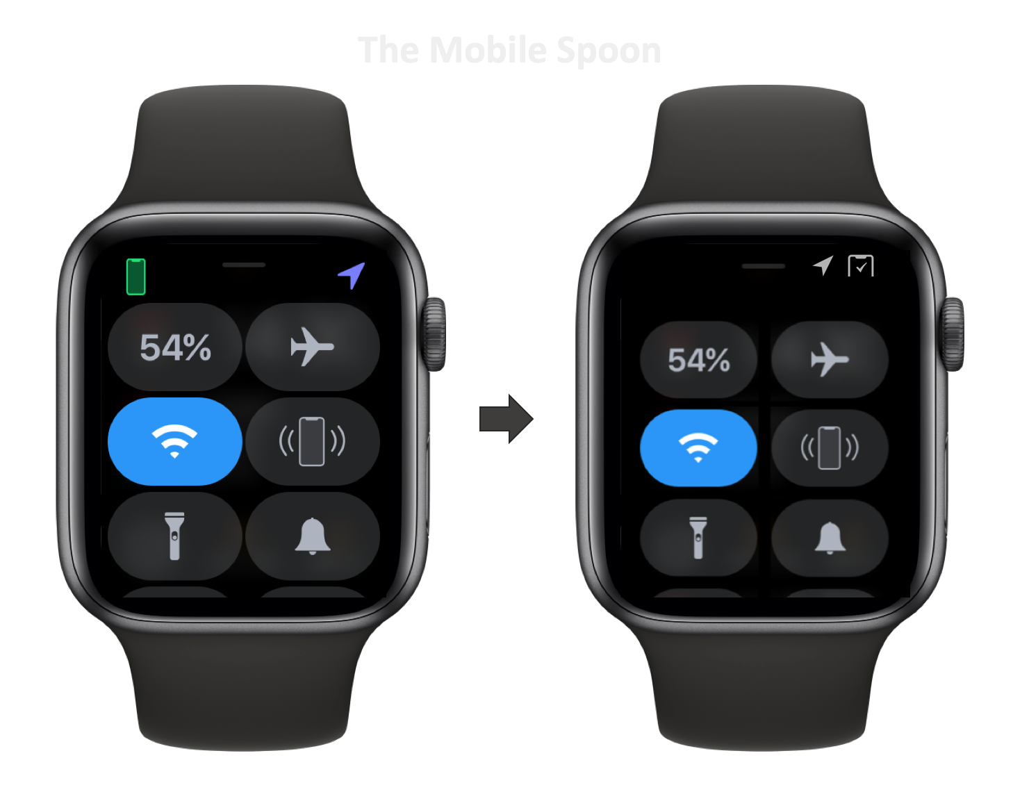 Apple Watch Control Center - existing vs. fine tuned version