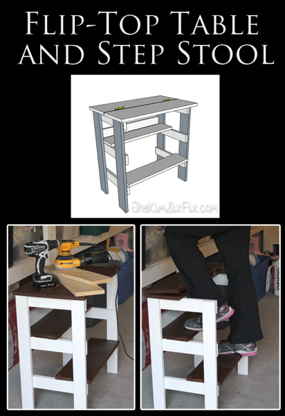Flip Top Table with a built in Step Stool.  A great multi-functional starter project that is easy to build.
