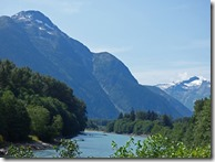 Skeena River and Coast Mountains along Yellowhead Highway between Terrace and Prince Rupert