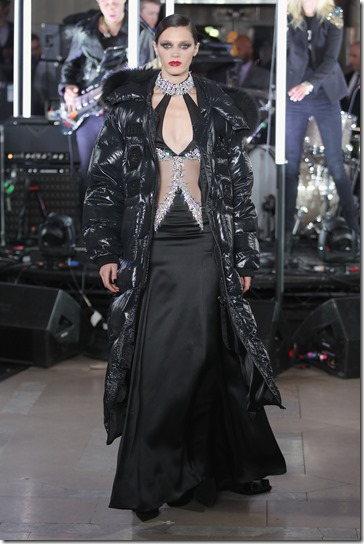 NEW YORK, NY - FEBRUARY 13:  A model walks the runway wearing look #69 for the Philipp Plein Fall/Winter 2017/2018 Women's And Men's Fashion Show at The New York Public Library on February 13, 2017 in New York City.  (Photo by Thomas Concordia/Getty Images for Philipp Plein)