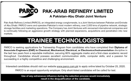 Pak Arab Refinery Limited PARCO Jobs October 2020