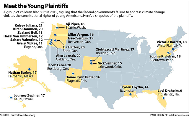 Map showing locations of the 21 plaintiffs in the Our Children's Trust suit, ages 9 to 21. Graphic: Paul Horn / InsideClimate News