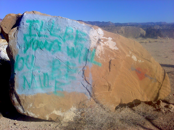 This rock used to say 'Fabulous Anal Pointe' (which I found hilarious) but some asshole wrote over it 'I'll be yours will you be mine'