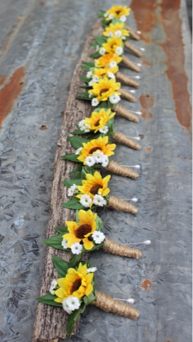 rustic country wedding boutonnieres with sunflowers
