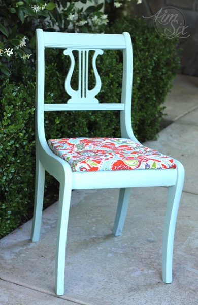 Blue chalk painted chair with orange paisley