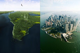 Manhattan Island before and after