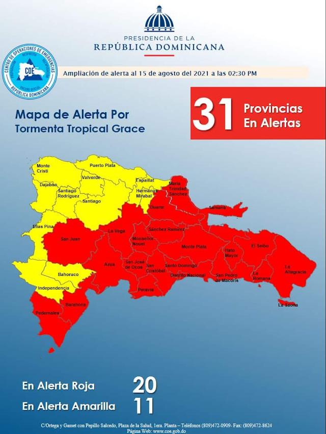 COE eleva a 20 las provincias en alerta roja por Grace
