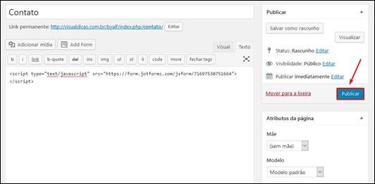 Como inserir um formulário de contato JotForm no Wordpress - Visual Dicas