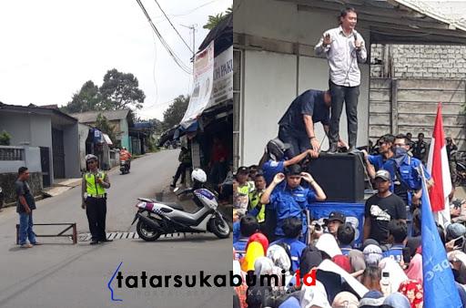 Antisipasi Macet Akibat Demo Karyawan di Cicurug, Polisi Lakukan Rekayasa Tutup Jalan Alternatif Cicurug - Parungkuda