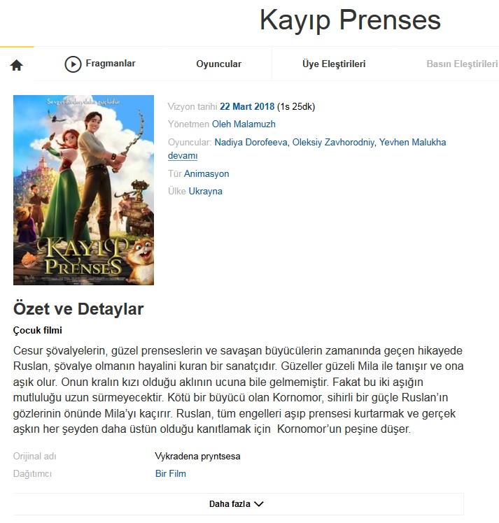 Kayıp Prenses 2018 - 480p - Türkçe Dublaj Tek Link indir