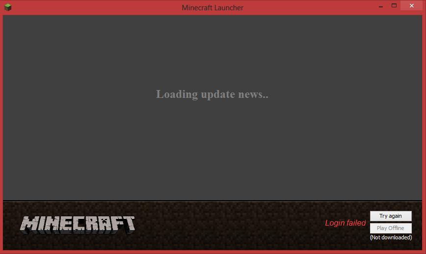 "Minecraft won't login- Stuck on ""Loading update news ..."