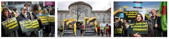 Tableau mit drei Fotos von Kohlekraft-Gegnern, Transparente: »Herr Gabriel, Kohlekraft stoppen!«, »Klima-Killer abschalten!«.