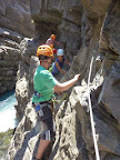 """Walking part above the river in Via ferrata of Sautet Dam,  above """"La Mure"""" and OIsans mountains"""