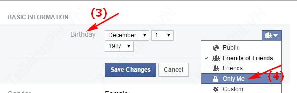 hình 3, ẩn ngày sinh facebook
