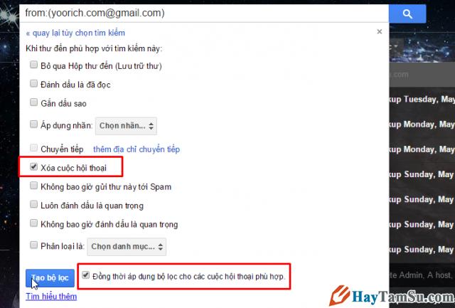 Tạo bộ lọc gmail