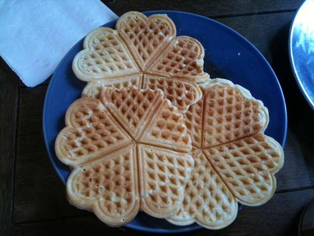 Heart-shaped waffles