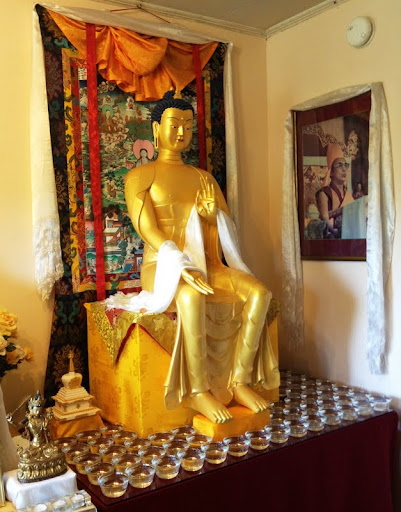 Milarepa Center's new Maitreya statue, Barnet, Vermont, USA, May 2012