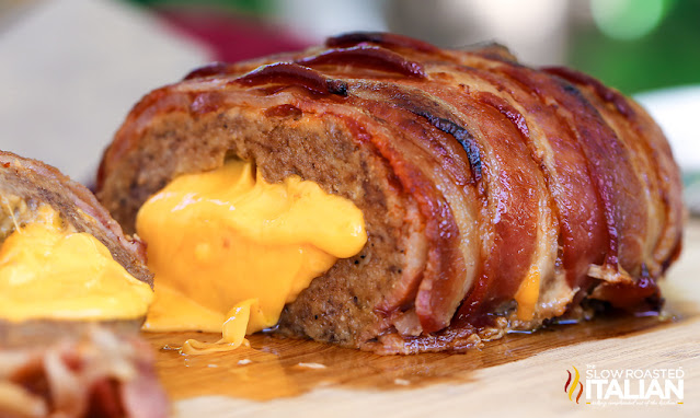 Bacon Cheeseburger Stuffed Meatloaf on a cutting board