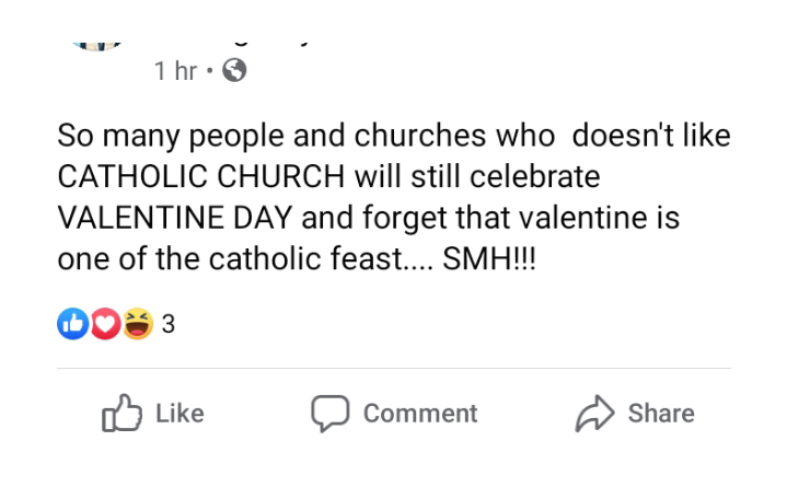 Stop celebrating valentine's day if you don't like catholic church - Nigerian man says
