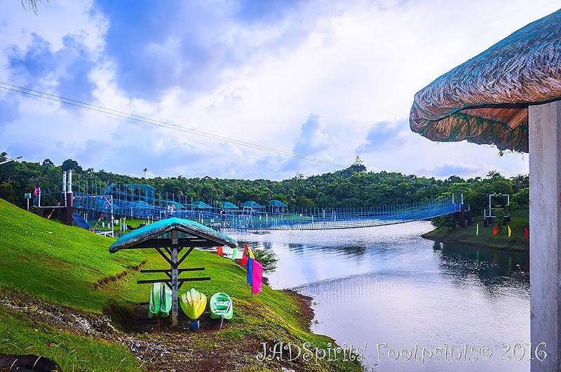 The kayak shed and the hanging bridge at Caliraya Mountain Lake Resort