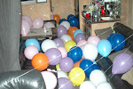 whlile Lady A was onstage Kenny's drivers filled their bus with baloons and we dental flossed it