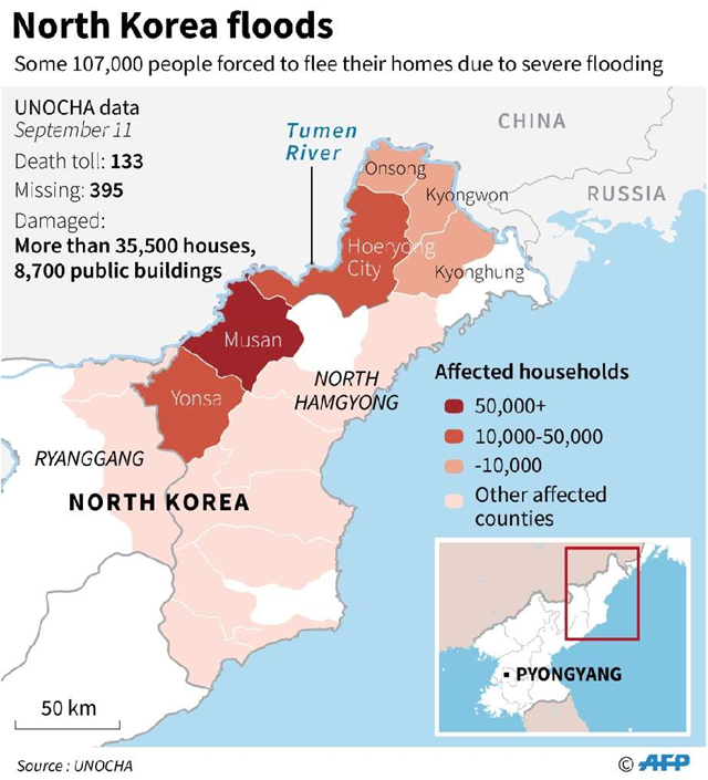 Map of North Korea showing areas affected by severe flooding on 11 September 2016. Graphic: AFP