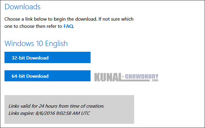 Windows 10 ISO Image download for Offline installation (www.kunal-chowdhury.com)