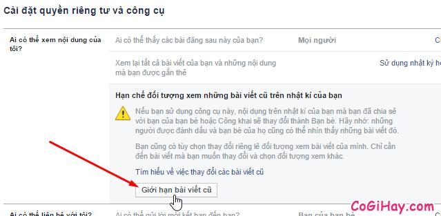 Thực hiện giới hạn bài đăng Facebook trước đây