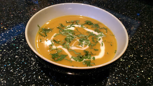 Squash, soup recipe, onion, coriander, chilli, vegetable stock, Cumin