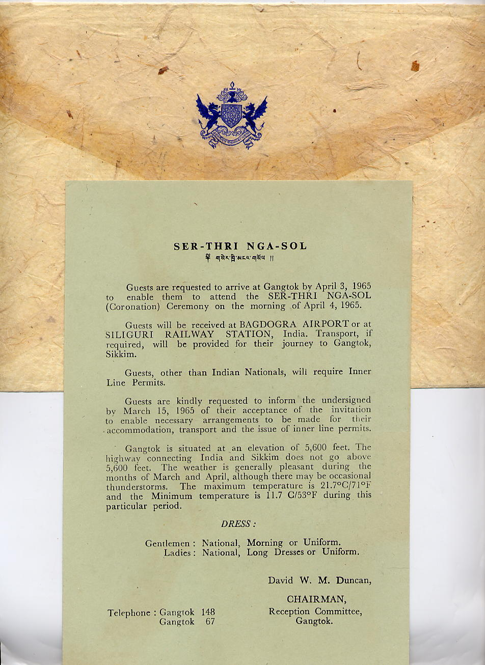 Invitation letter for chogyals coronation ceremony 1965 proud invitation letter for chogyals coronation ceremony 1965 proud to be a sikkimese stopboris Choice Image