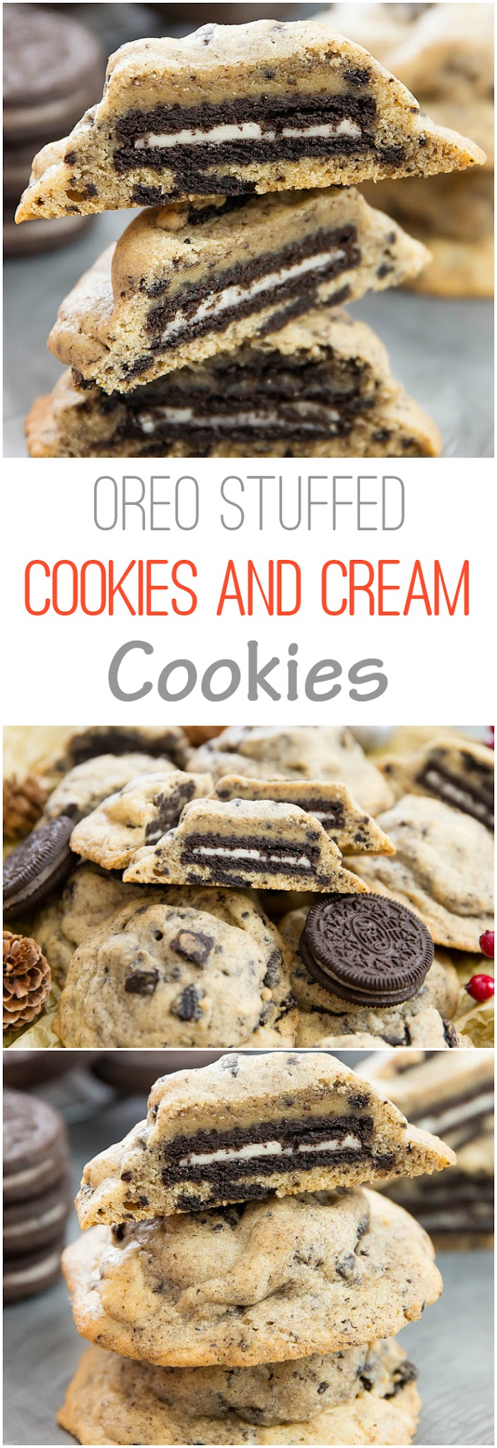 photo collage of oreo stuffed cookies and cream cookies