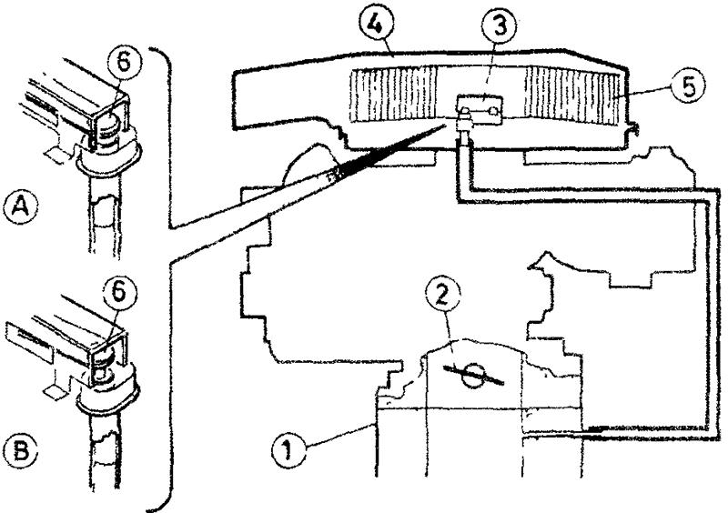 Схема температурного компенсатора системы холостого хода при высокой температуре двигателя - установленного в кожухе воздушного фильтра