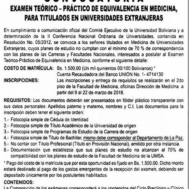 UMSA 2018: Examen Teórico-Práctico de Equivalencia en Medicina, para titulados en Universidades Extranjeras
