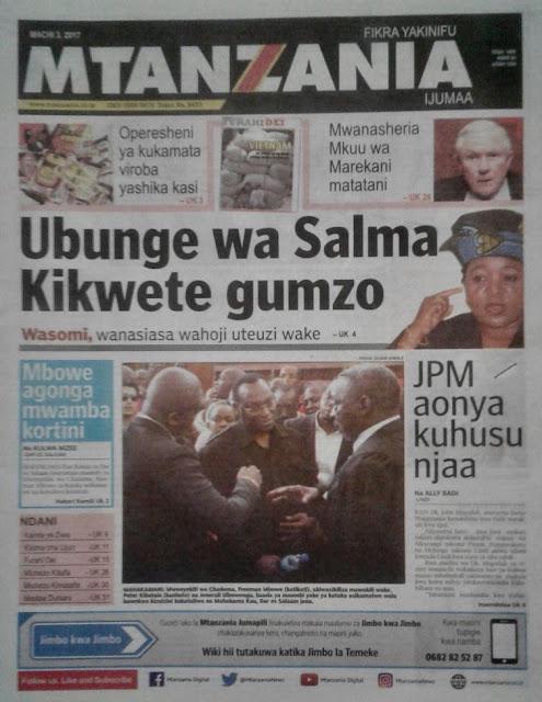Magazeti ya Leo Tanzania Ijumaa ya March 3,2017