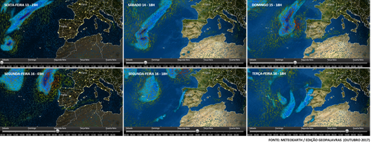 Evolução do estado do tempo Portugal - 13 a 16 de outubro 2017
