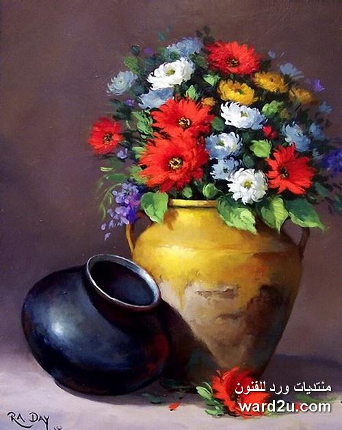 طبيعة صامتة خزف وورود للفنانة Rose Ann Day
